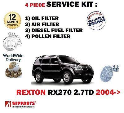 pour Ssangyong Rexton RX270 2.7dt 2004- > Filtre à Pollen Huile Air carburant