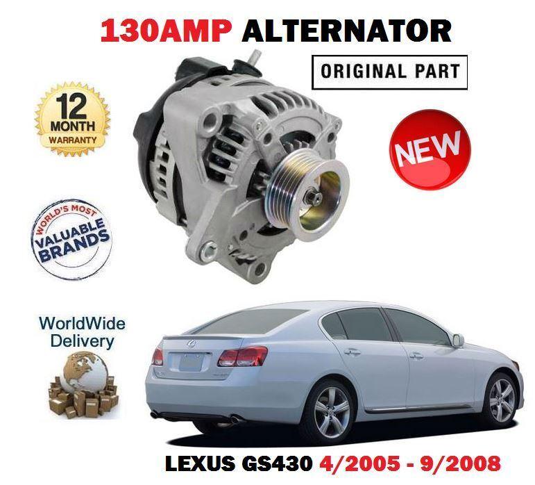 FOR LEXUS GS430 4.3 283BHP 3UZ-FE 4/2005-9/2008 NEW 130AMP ALTERNATOR UNIT