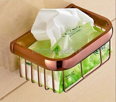 Rose Gold Brass Bathroom Accessory Toilet Paper Roll Holder Basket lba536