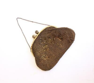 1920s Handbags, Purses, and Shopping Bag Styles BRONZE BROWN BEADED Clutch purse 1920s Filligree brass Copper Beads Metallic $23.21 AT vintagedancer.com