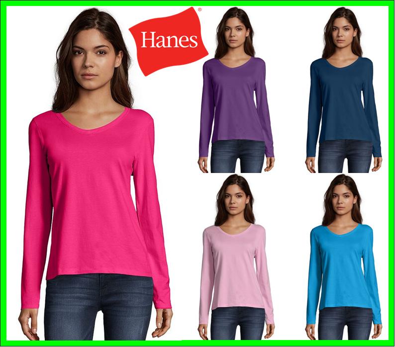 Hanes Women's Long-Sleeve V-Neck T-Shirt Tee 100% Cotton Top