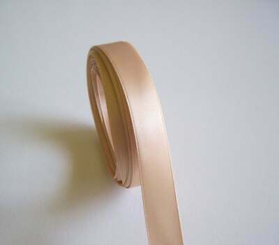 "Double-Face Light Gold Satin Ribbon 5/8"" wide x 10 yds, Offray Raw Silk Color"