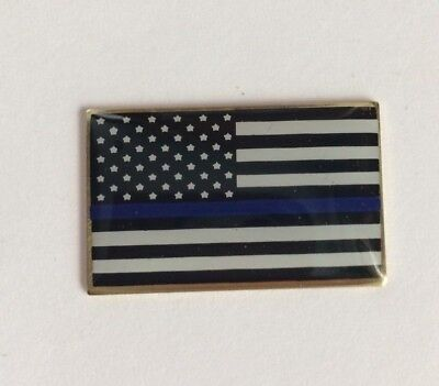 Thin Blue Line USA Flag LAPEL PIN Support Police Blue Lives Matter Made in USA Blue Flag Pin