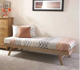 Oak Bed Frame With Fold Able Legs Or Without Mattress