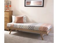 Oak bed frame with fold-able legs. With or without mattress