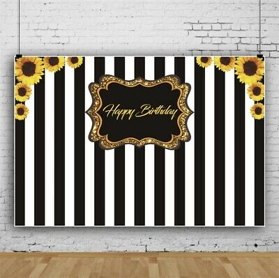 6x4Ft Happy Birthday With Black And White Stripes Photography Backdrop Studio](Black And White Striped Backdrop)