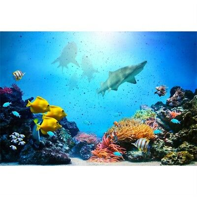 7x5Ft Coral Reef Fish Groups Sharks Backdrop Event Banner Photography Background - Coral Reef Backdrop