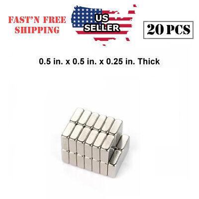 20pcs N52 Rare-earth Square Block Magnets 0.5 X 0.5 X 0.25 In Thick Neodymium Us