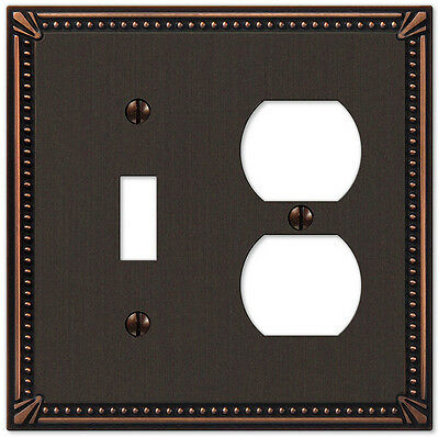 IMPERIAL BEAD ANTIQUE BRONZE 1 DUPLEX & 1 TOGGLE COMBO SWITCHPLATE (Antique Bronze 1 Toggle)