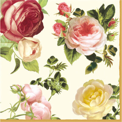 40 Paper Lunch Napkins ROSALIA - SHABBY CHIC DECOUPAGE VINTAGE - Pink Roses
