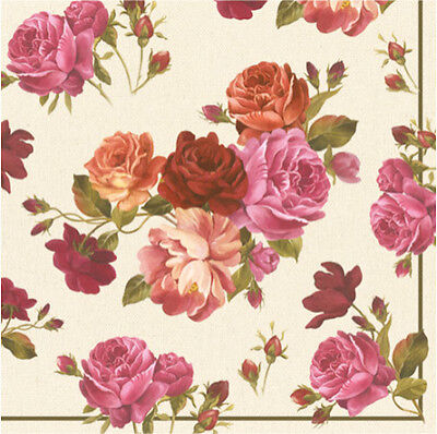20 Paper Napkins CATHERINE - SHABBY CHIC DECOUPAGE VINTAGE - Pink Roses