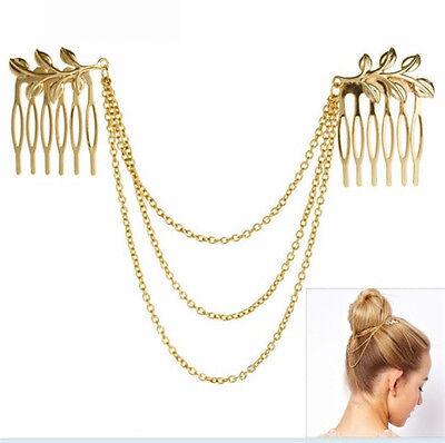 Womens Vintage Gold Metal Tassel Leaf Comb Cuff Chain Jewelry Headband Hair Band
