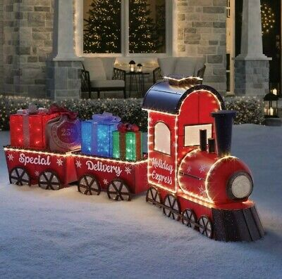 "Pre-Lit LED Vintage Christmas Holiday Express 80"" Outdoor Train Set Yard Decor"