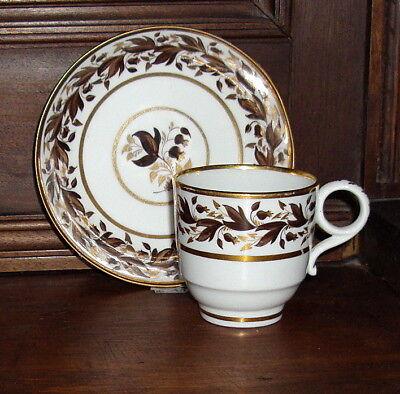 Superb Antique Worcester Barr Cup, Bowl Gilt and Leaves