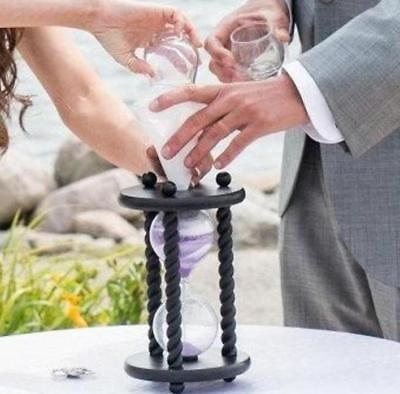 Unity Sand Hourglass (The Wedding Day in Black Unity Sand Ceremony Hourglass by Heirloom)