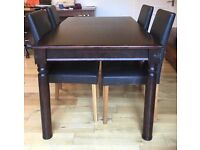 Walnut effect dining table extendable to seat 8