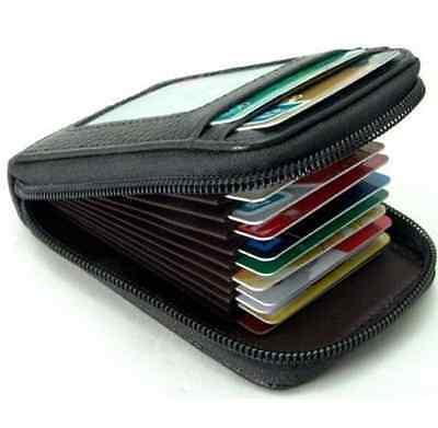 Mens/Womens Mini Leather Wallet ID Credit Cards Holder Organizer Purse black