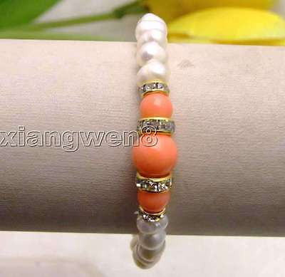 - White 6-7mm Natural Pearl Bracelet for Women with Round Pink Coral 7.5