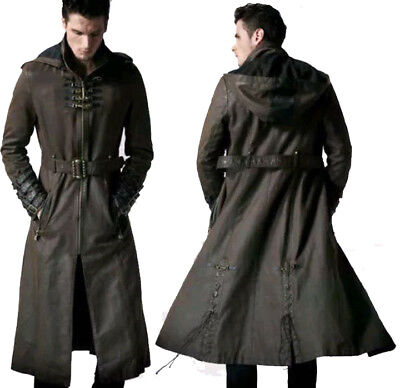 MEN'S STEAMPUNK GOTHIC TRENCH COAT MILITARY STYLE HOODED BLACK LONG LEATHER COAT