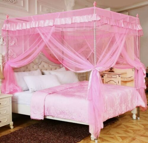 4 Corner Mosquito Net Lace Bed Canopy Pink  Princess Netting