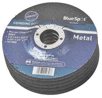 "115mm GRINDING DISCS FOR METAL  4.5"" BLUE SPOT 115 X 22.2 X 6mm 4 1/2"" CHOICE"