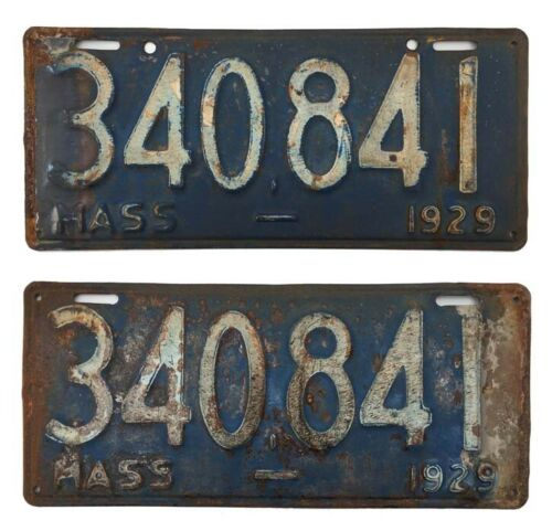 Massachusetts 1929 License Plate Pair, Original Paint, Garage Sign