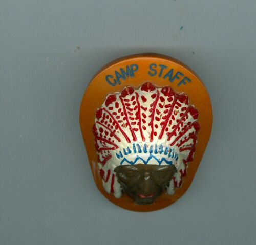 Older Boy Scout Neal Neckerchief Slide - Camp Staff (With Indian Chief  In 3-D)