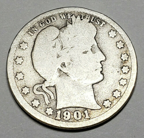 1901 P BARBER QUARTER  *G - GOOD*  *90% SILVER*  **FREE SHIPPING**