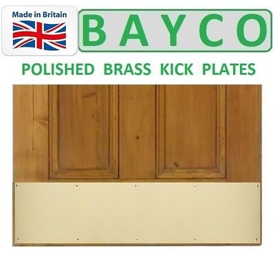 Brass Finish Kick Plates - BRASS DOOR/KICK PLATE WITH FIXING SCREWS FOR TIMBER DOOR. POLISHED FINISH.