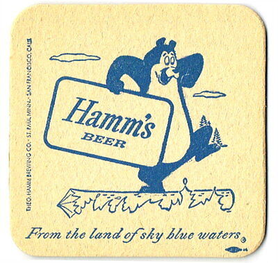 Early 1950s Hamm's Bear Beer 2-City Mandatory 3½ inch coaster Log Rolling