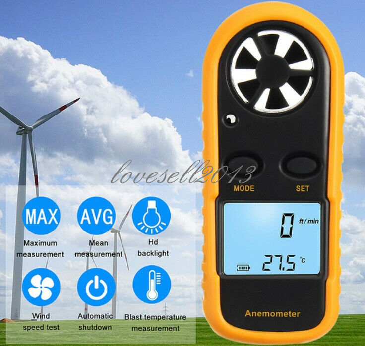 Digital NTC Thermometer Mini LCD Wind Speed Gauge Air Velocity Meter Anemometer