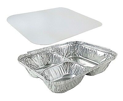 Handi-foil 3-compartment Oblong Aluminum Take-out Pan Wboard Lid Combo 250 Pack