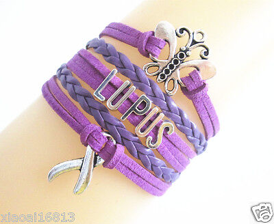 Pretty Butterfly Lupus Cancer Ribbon Charms Suede Leather Braided Bracelet