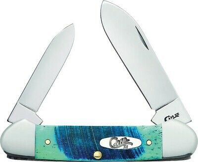 "WR Case & Sons XX Caribbean Blue Sawcut Canoe 62131 SS 3 5/8"" Pocket Knife 25598"
