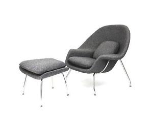 A-BONN Womb Chair with Ottoman - Wool Fabric - Clearance Sale!