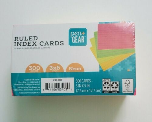 "Ruled Index Cards, Pen + Gear, 3""x5"", Neon, 300 Count"