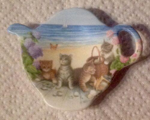 VINTAGE CAT  MELAMINE TEA BAG HOLDER