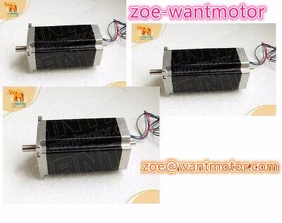 3pcs Wantai Nema23 Stepping Motor Dual Shaft 4.2a 112mm 4leads Cnc Kit
