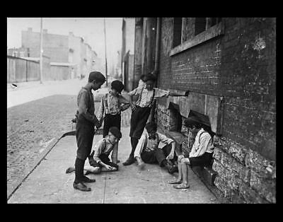 1908 school Kids playing craps PHOTO Cincinnati, Ohio CHILD LABOR gambling Dice