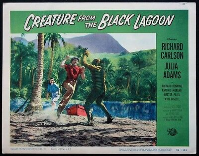 THE CREATURE FROM THE BLACK LAGOON MONSTER ON BEACH 1954 LOBBY CARD #7