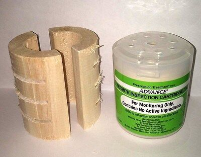 25 Advance Termite Bait Station Monitor Inspection Cartridges & 25 Wood Bases