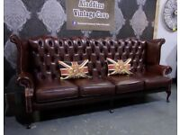 Immaculate RARE Chesterfield 4 Seater Queen Anne Wing Back Sofa in Brown Leather - UK Delivery