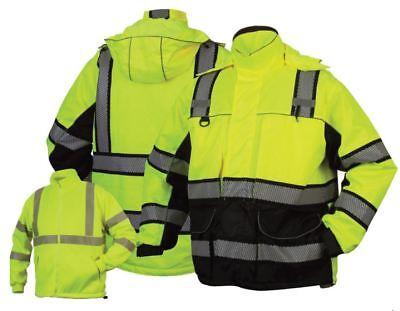 Pyramex Hi-Vis Class 3 Insulated Safety Parka Reflective Jacket ROAD WORK M-5XL Hi Vis Parka
