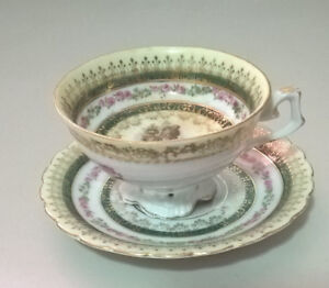 Vintage Rare Rococo Demitasse Footed Cup and Saucer
