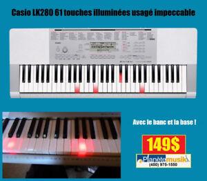 Clavier usagé CASIO LK280 avec banc et support!