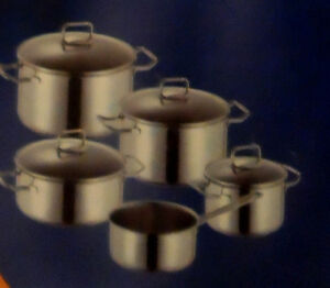 5 PIECE GERMAN STAINLESS STEEL PAN SET-- NEW IN BOX Edmonton Edmonton Area image 1