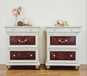 Bombay Nightstands/End Tables with Burled Drawers