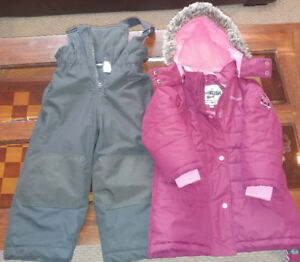 Girls Size 3T OshKOSH hooded coat with snow pants