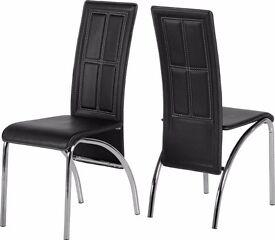 2 x Black PVC/Chrome Dining Chairs