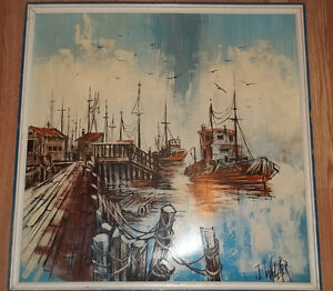 Fishing boat ship harbor dock scene oil painting by J. Wallker West Island Greater Montréal image 1